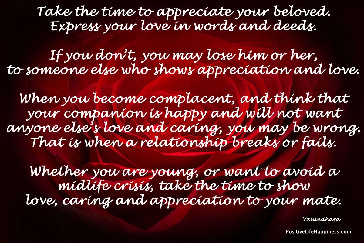 Take time to appreciate