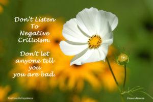 Don't listen to negative criticism (Article)