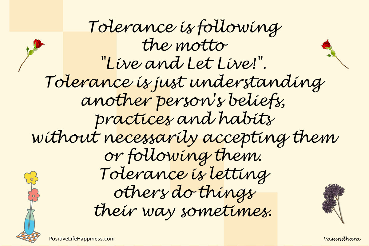 Tolerance is being Smart