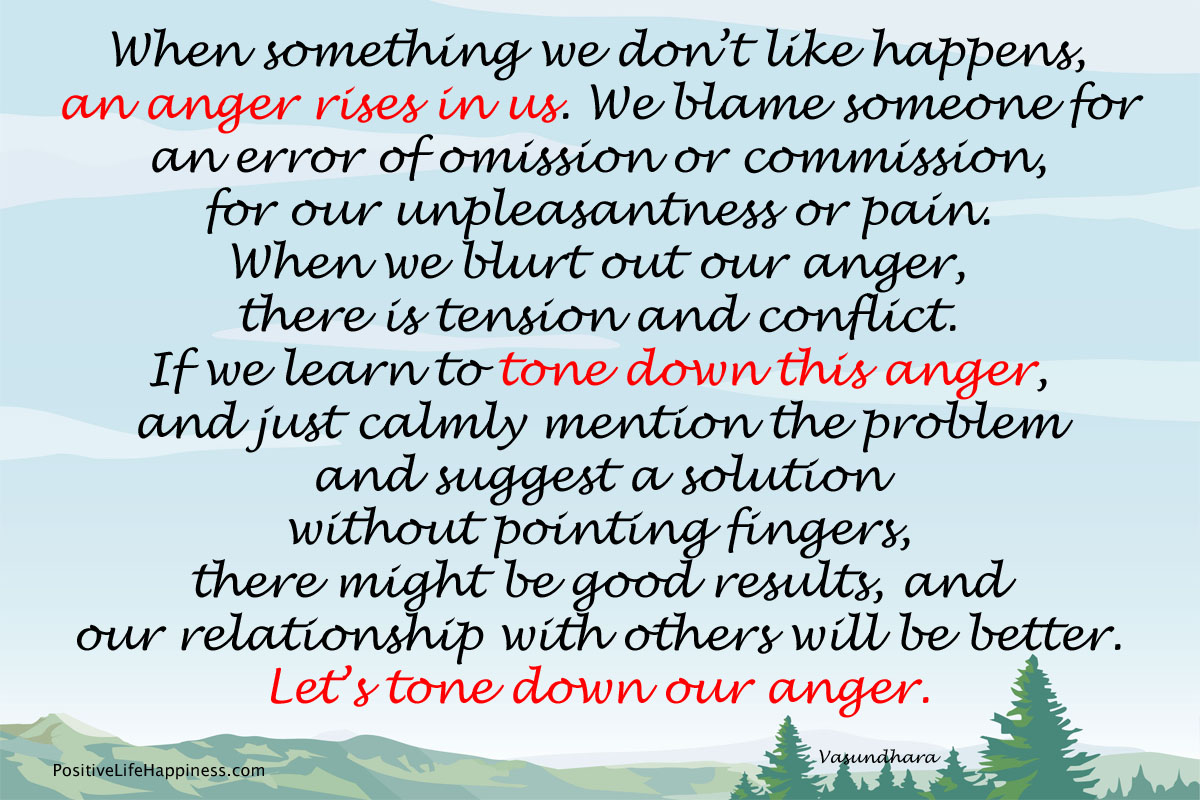 Tone down anger